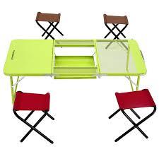 Folding Table Adjustable Height Tomshoo 2 Levels Adjustable Height Strong Iron Portable Folding