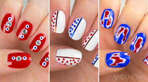 amazing red white and blue nail art