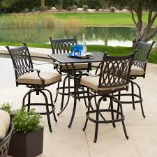 Patio High Dining Set - elisabeth cushioned cast aluminum patio bar height set at