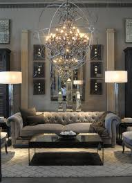 Long Chesterfield Sofa by Living Room Crystal Chandelier Stain Globe Surround Lights Grey