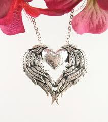 silver necklace wings images Angel wings heart necklace in sterling silver free shipping in JPG