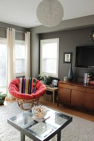 grey wall red bedroom transitional with red throw acrylic throw