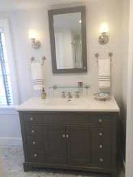 gray and white bathroom marble carrera hexagon tile floor rohl