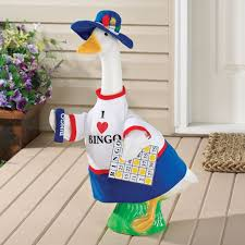 goose lawn ornament dressed for bingo things