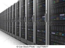 data center servers row of network servers in datacenter room isolated on white