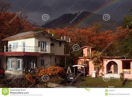 himalayan cottage homes snow rainbow india stock image image