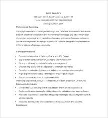 Resume Core Qualifications Examples by Database Administrator Resume Template 15 Free Samples
