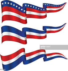 Blue White And Red Flags Shiny Patriotic Ribbon Banner Red White And Blue Vector Art
