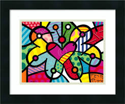 britto garden amazon com u0027fluffy friends u0027 cat art framed print romero britto