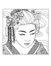 geisha face by mizu japan coloring pages for adults justcolor