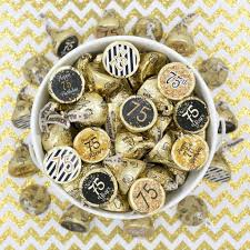 Favors For 75th Birthday by Black And Gold 75th Birthday Favor Stickers Set Of 324