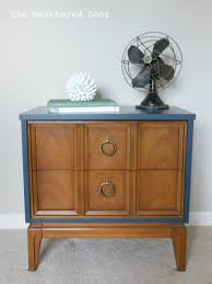walnut navy mid century nightstand the weathered door