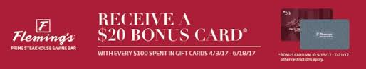 fleming s gift card fleming s steakhouse gift card bonus promotion 20 gift card for