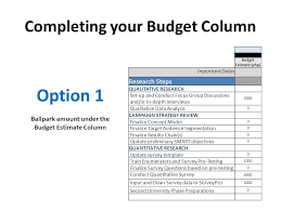 completing your budget column ppt video online download