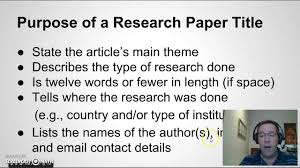 writing a good paper writing a title for your research paper youtube