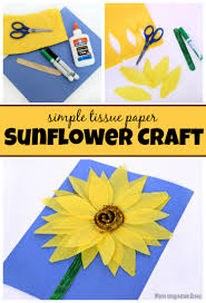 tissue paper sunflower craft for kids where imagination grows