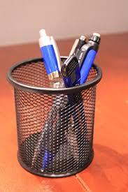 Pen Organizer For Desk Black Single Round Mesh Metal Pen Pencil Tool Holder Table Desk