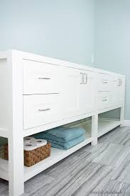 mission style open shelf bathroom vanity build plans a houseful