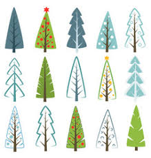 set of different christmas trees royalty free vector image