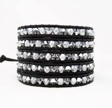 white swarovski crystal bracelet images Swarovski crystal leather wrap bracelets silver chrome onsra jpg