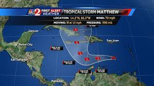 Caribbean Weather Map by Matthew Expected To Become Hurricane By Friday
