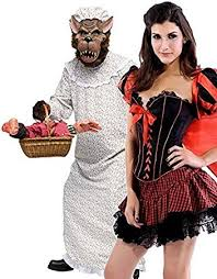 Granny Halloween Costumes Couples Ladies U0026 Mens Red Riding Hood U0026 Big Bad Granny Wolf