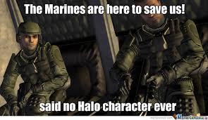 Funny Marine Memes - halo marines so useless by dazza meme center