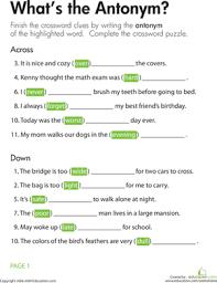 opposites crossword what u0027s the antonym worksheet education com
