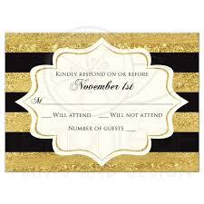 Wedding Invitation Acceptance Card Golden Anniversary Response Card Faux Gold Foil Ivory Black