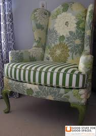 Antique Queen Anne Wing Back Chairs Upcycled Chair Vintage Wingback Chair Reupholstered In Flowered
