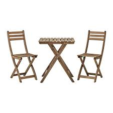 Small Folding Table And Chairs Askholmen Table 2 Chairs Outdoor Askholmen Grey Brown Stained