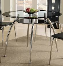 round metal dining room table poundex f2211 round metal dining table with glass top and black trim