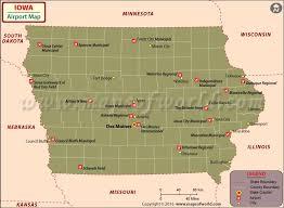road map of iowa usa airports in iowa iowa airports map