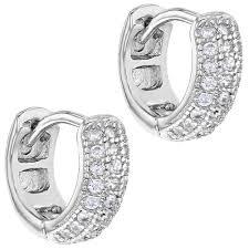 baby hoop earrings 925 sterling silver clear cz small tiny baby hoop earrings 0 27