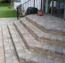 Cutting Patio Pavers Add An Design Element To Stairs By Cutting Pavers Into