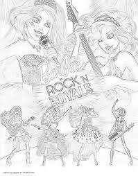 barbie in rock u0027n royals coloring pages for girls