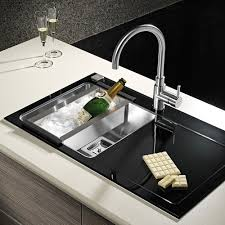 Black Glass Kitchen Sinks Pyramis Crystalon 10 Large Bowl Black Glass Stainless Steel Matte