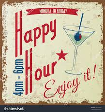 martini vintage retro vintage happy hour drink typographical stock vector