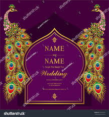 Wedding Invitation Card Templates Wedding Invitation Card Templates Gold Peacock Stock Vector
