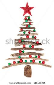 driftwood christmas tree abstract starfish over stock photo