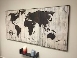 rustic world map wall art carved home decor 3 panel map ruth 1