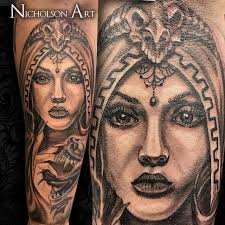 got to work on this greek mythology sleeve today here i did my