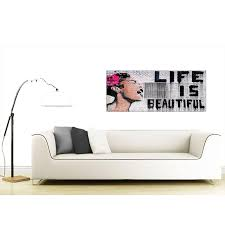 life is beautiful banksy street art black white and pink graffiti display gallery item 1 cheap banksy graffiti canvas pictures 120cm x 50cm display gallery item 2