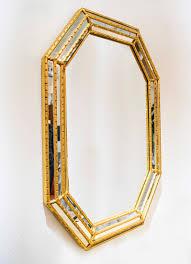 Midcentury Modern Mirror Mid Century Modern Labarge Hexagonal Mirror With Gold Leaf Sold