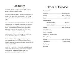 Samples Of Memorial Programs How To Write A Funeral Program Obituary Template Sample