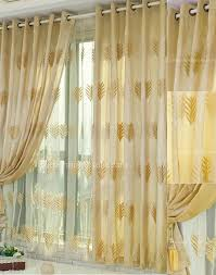 Curtains For Yellow Bedroom by Leaf Patterns Embroidery Bedroom Blackout Yellow Gold Curtains