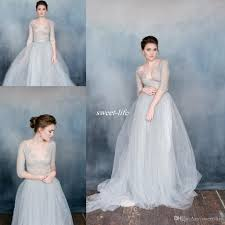 dusty wedding dress discount summer dusty blue wedding dresses 2016 sheer lace v neck