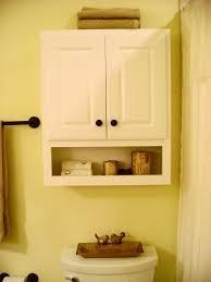 white wooden floating bathroom cabinet with double doors and