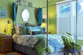 Houzz Bedrooms Traditional - mismatched lamps bedroom traditional with wood nightstand