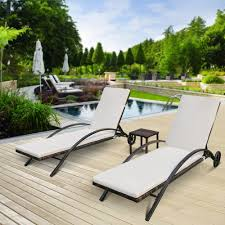 Outdoor Chaise Lounges Ikayaa 3pcs Rattan Wicker Patio Chaise Lounge Chair Set Sales